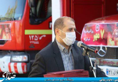 مراسم تجلیل از آتش نشانان بناب برگزار شد+ تصاویر/ شهردار بناب: آتش نشانان یکی از عوامل مهم ایجاد امنیت و آرامش هستند/ پرسنل آتش نشانی بناب با کمترین امکانات بیشتری خدمات را می دهند