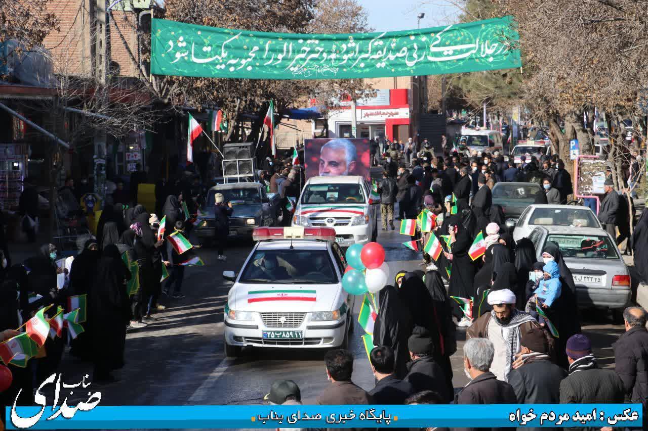 راهپیمایی یوم الله 22 بهمن به صورت رژه خودرویی و موتوری در بناب برگزار شد + تصاویر